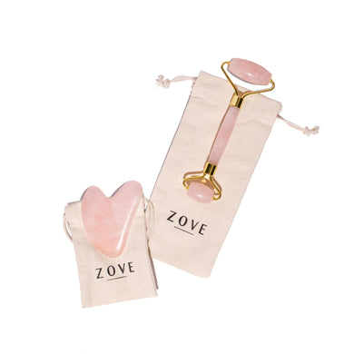 Rose Quartz Facial Roller & Gua Sha Set