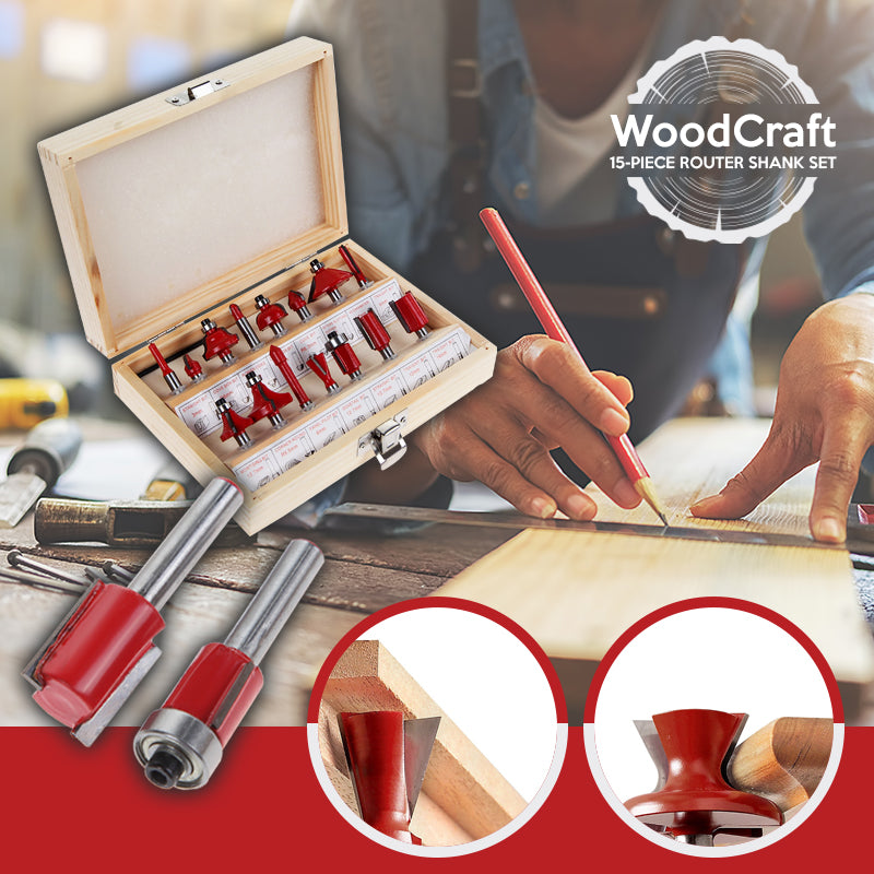 WoodCraft – 15-Piece Router Shank Set