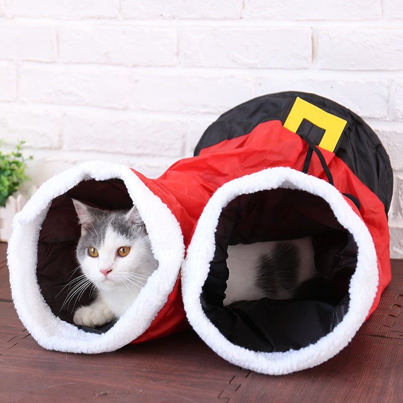 Santa Pants Cat Tunnel