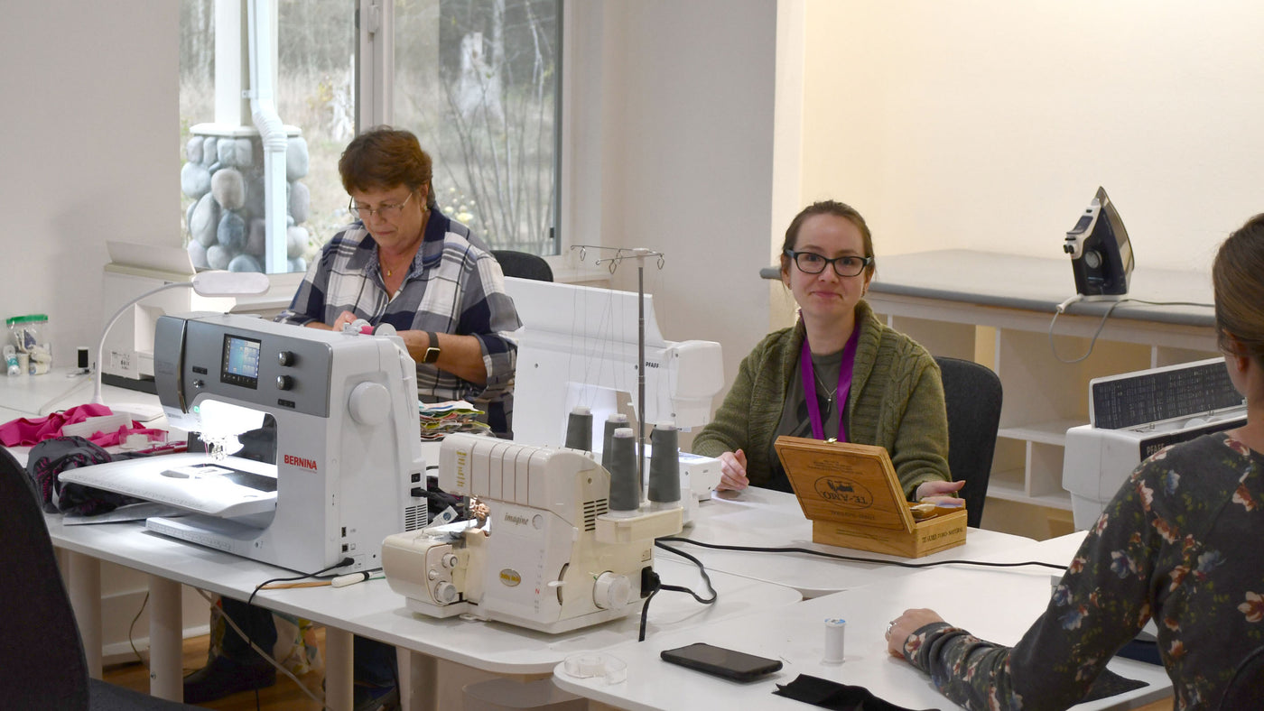 Makers Hideaway Studio Space Being Used by a Group of Friends to Sew