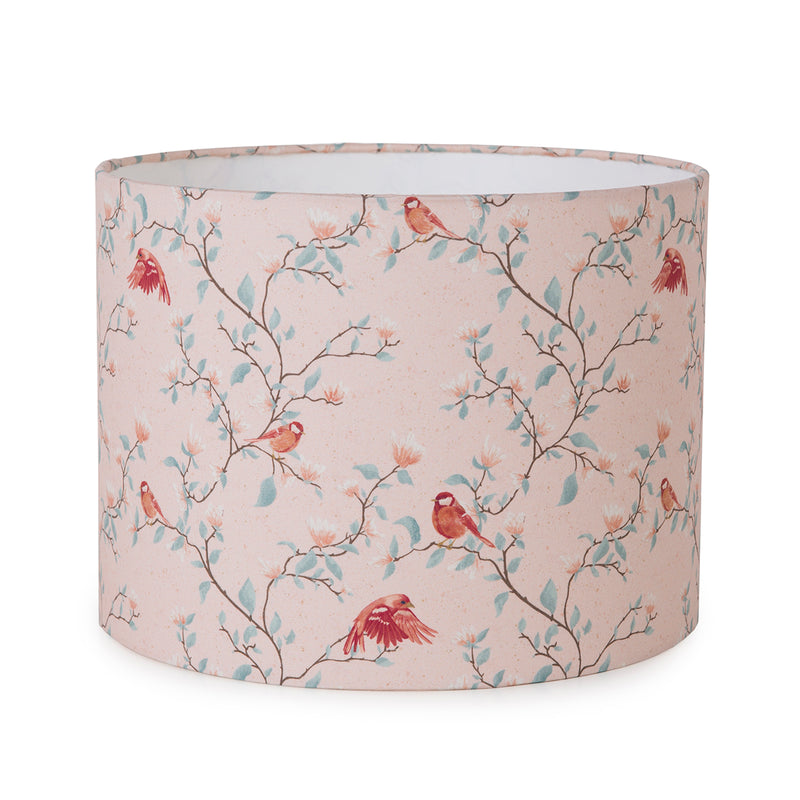 G&H 30cm Cotton Lampshade in Parus Bird Print on flat surface