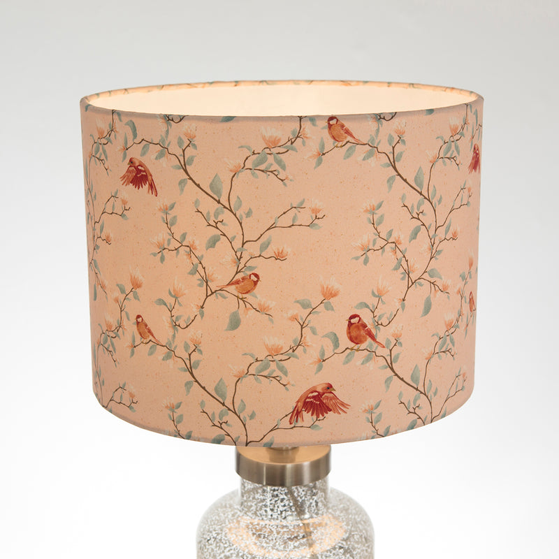 G&H 30cm Cotton Lampshade in Parus Bird Print with light on