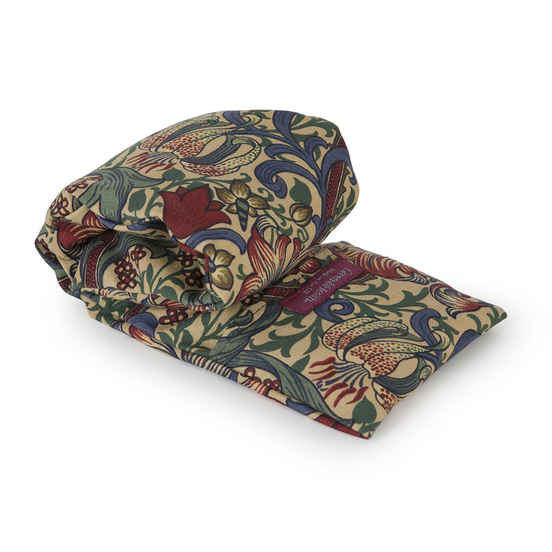 Lavender Wheat Warmer, Heated Wheat Bag in William Morris Golden Lily