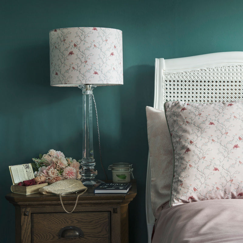 G&H 30cm Cotton Lampshade in Parus Bird Print on side table in bedroom