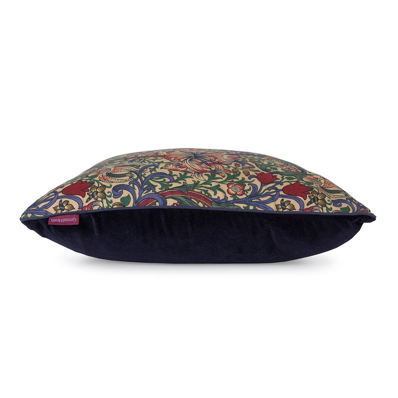 Sheep Wool Cushion and Cover in William Morris Golden Lily with Velvet Back