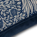 Sheep Wool Cushion and Cover in William Morris Marigold Indigo with Velvet Back