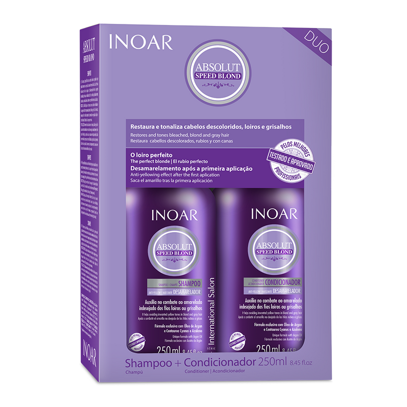 Purple shampoo and conditioner kit for blondes