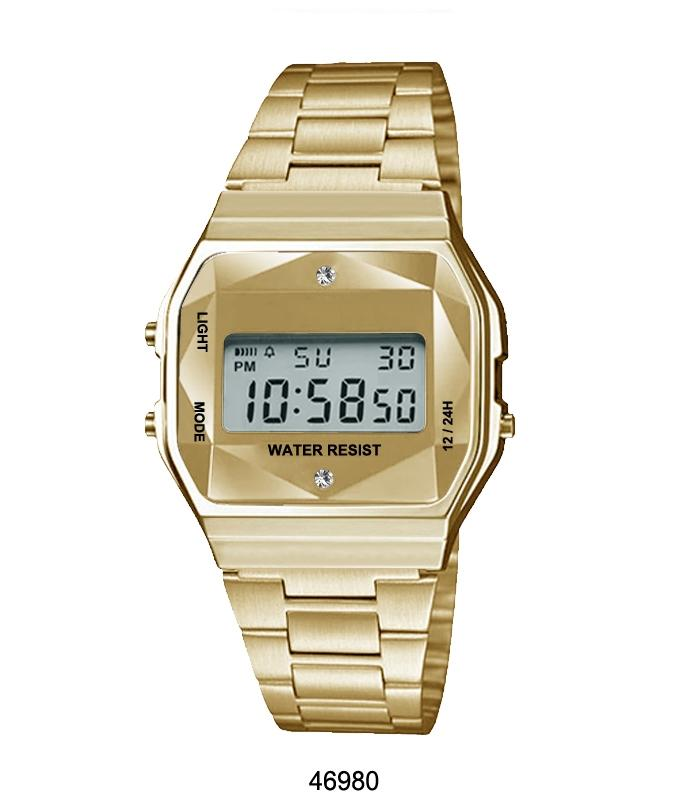 Gold Sports Metal Band Watch with Gold Metal Case and Gold Crystal Cut LCD Display - fashion-beco