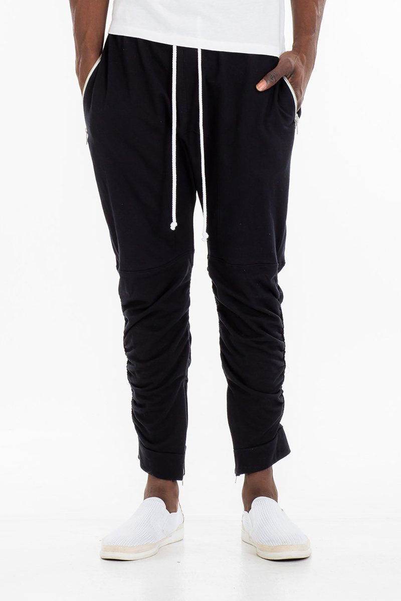 GATHERED BOMBER PANTS- BLACK