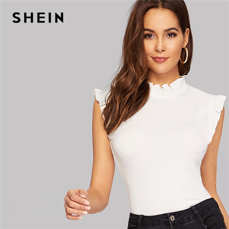 SHEIN Frilled Trim Keyhole Back Slim Fitted Tee Sleeveless T-shirt Women Summer Elegant Solid Stand Collar Tshirt Tops