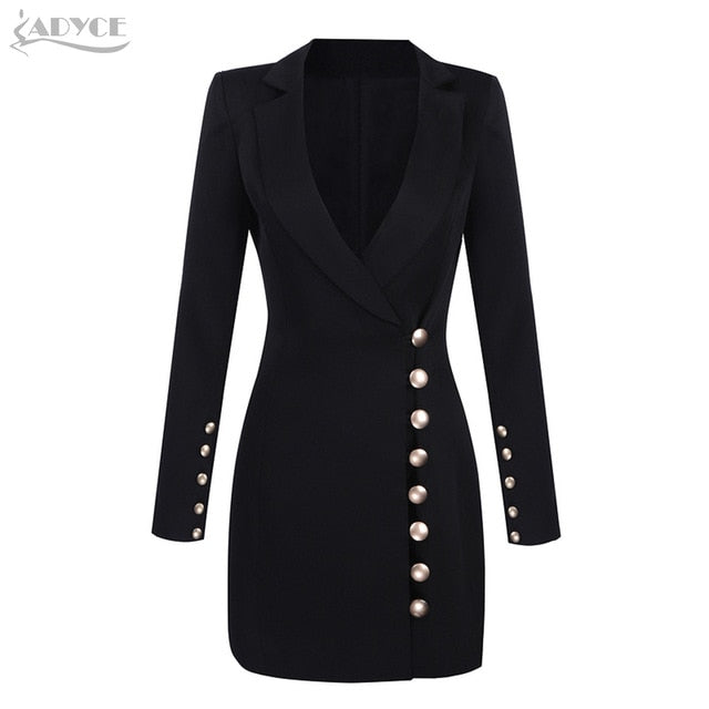 Adyce 2019 New Autumn Women Slim Black Coat V-Neck Single Breasted Long Sleeve Long Style Button Fashion Women Out wear Coat