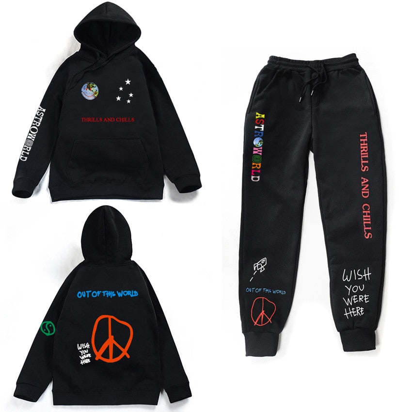 Astroworld THRILLS AND CHILLS Hoodies Plus pants Autumn Streetwear Pullover Travis Scotts Young Men Women FashionHip Hop Printin