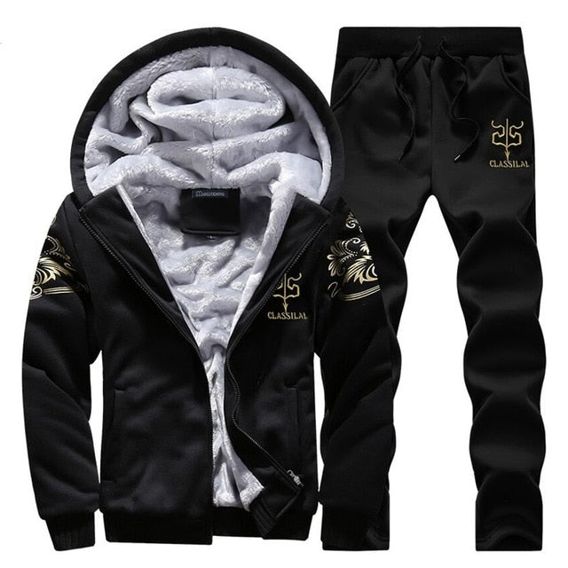 Men/Women 2019 Tracksuit Fleece Hooded Jacket+Pants Sweatshirts Set Hoodies Suit Coat Sportswear Autumn Winter Warm Pullover