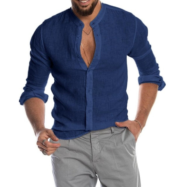 2020 New Men's Casual Blouse Cotton Linen Shirt Loose Tops Long Sleeve Tee Shirt Spring Autumn Summer Casual Handsome Men Shirt