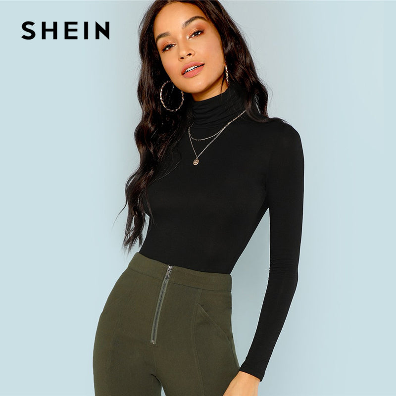 SHEIN Black Turtleneck Slim Fit T-shirt Workwear Office Ladies Plain High Neck Long Sleeve Tee Women Autumn Minimalist Tee