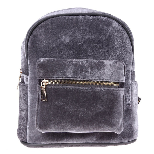 Stylish Finish Velvet Backpack - fashion-beco