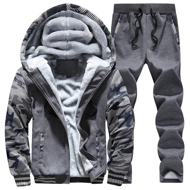 Tracksuit Men Sporting Fleece Thick Hooded Brand-Clothing Casual Track Suit Men Jacket+Pant Warm Fur Inside Winter Sweatshirt