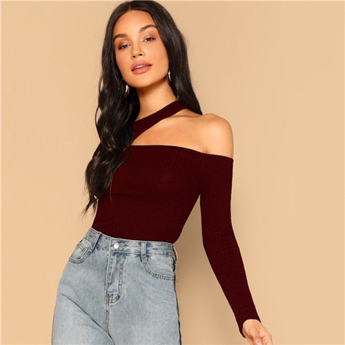 SHEIN Asymmetric Cutout Neck Ribbed T-shirt 2019 Women Elegant Spring Plain Long Sleeve Slim Fit Party Tee and Tops