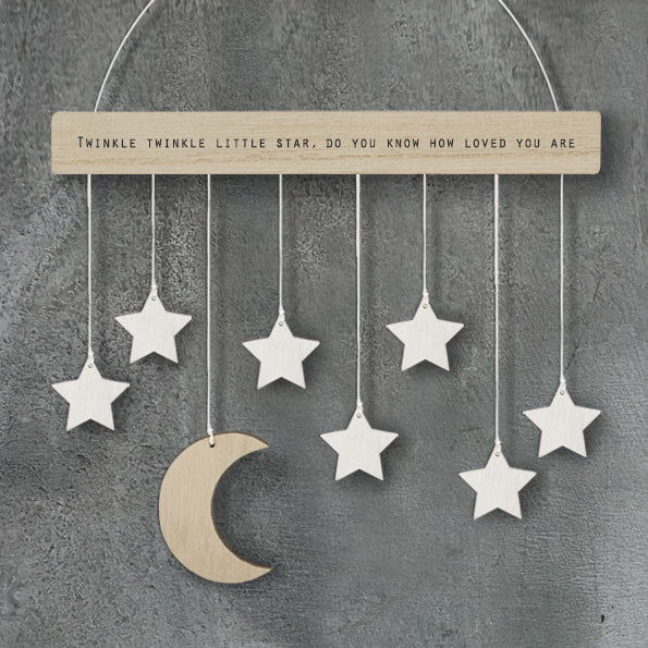Wood hanger with moon and stars