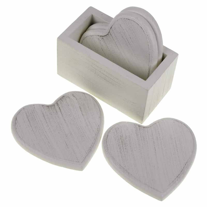 Cream Wooden Heart Coasters