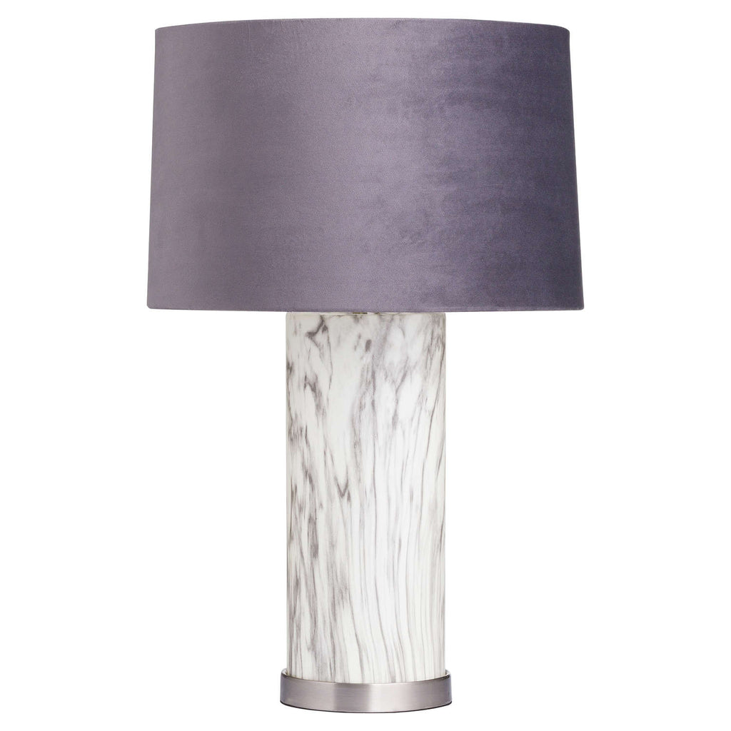 The Marble Effect Glass Table Lamp With Grey Velvet Shade