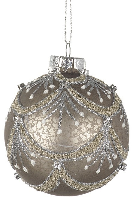 Mottled Glitter Glass Bauble