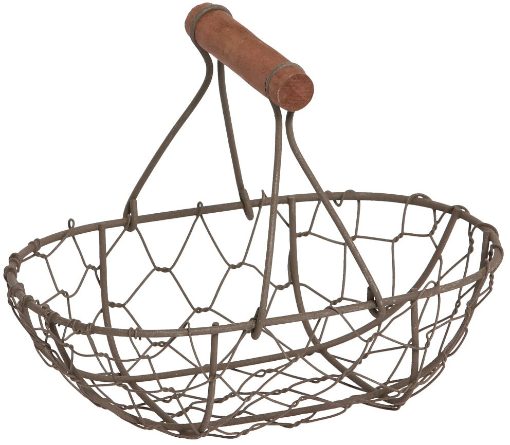Small Oval Basket With Wooden Handle