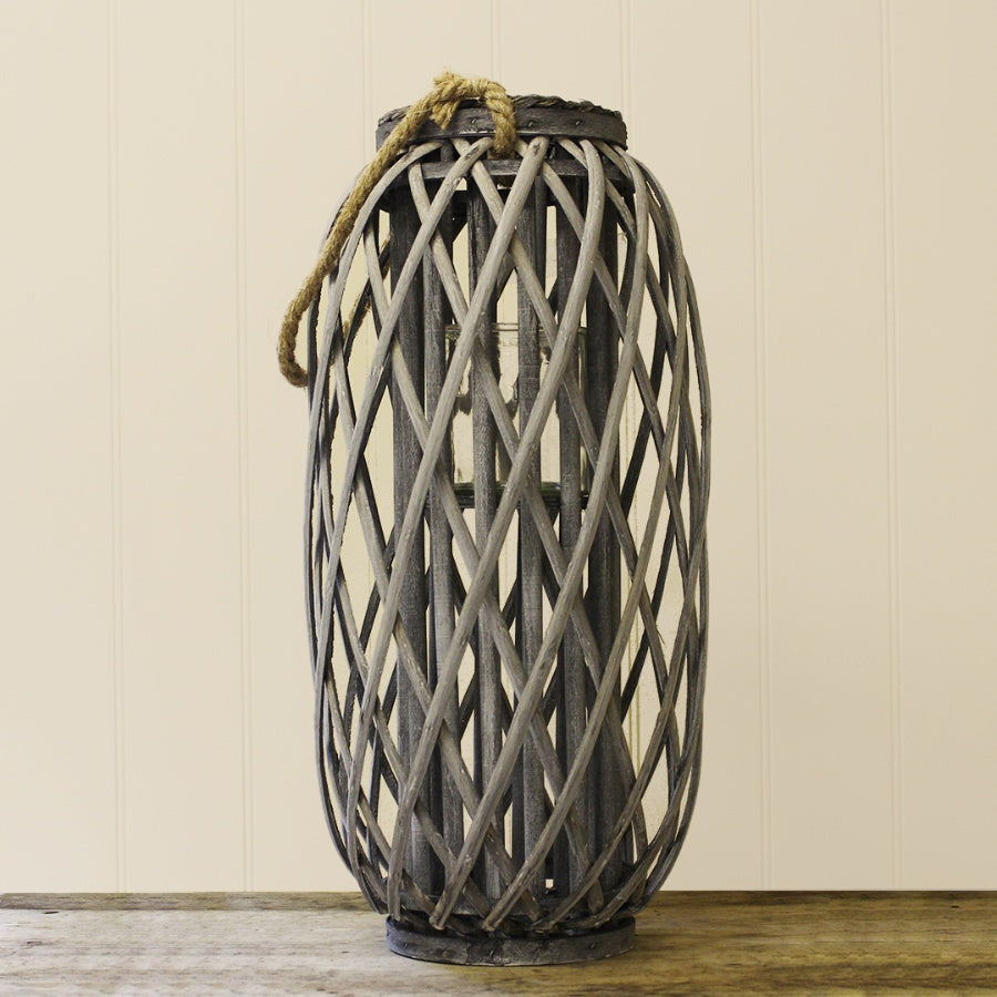 Large Grey Woven Lantern with Rope