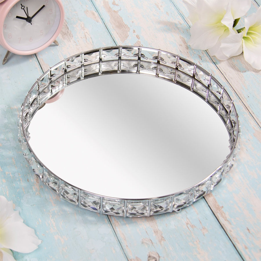 Round Crystal Edged Tray, 26cm