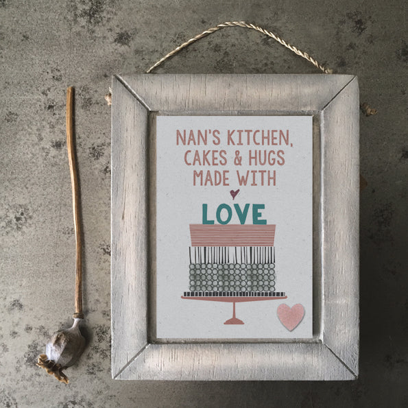 Grey frame-Nan's kitchen