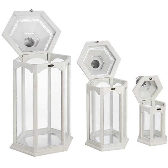 Set of Three Hexagonal Lanterns