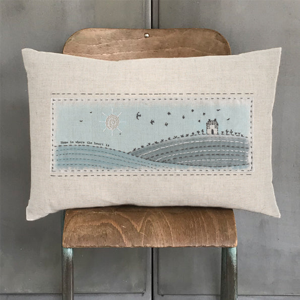 Embroidered long cushion - Home is where the heart is
