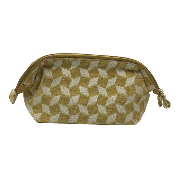 Large Yellow and White Make Up Bag