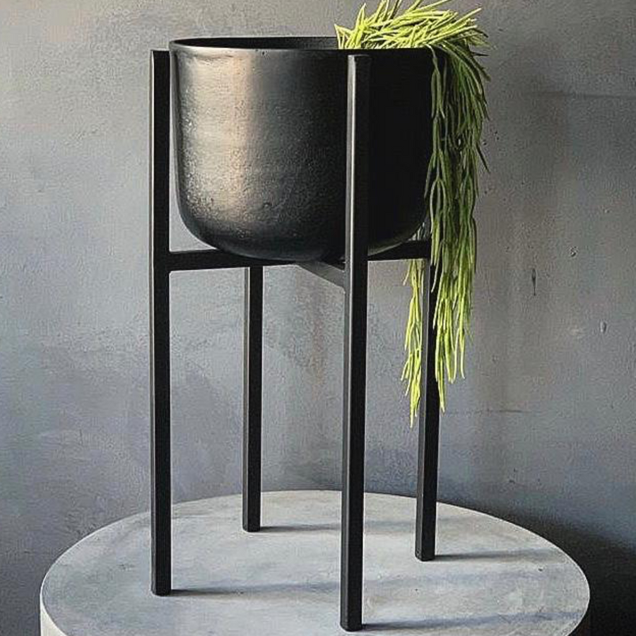 Black Iron Planter on Stand