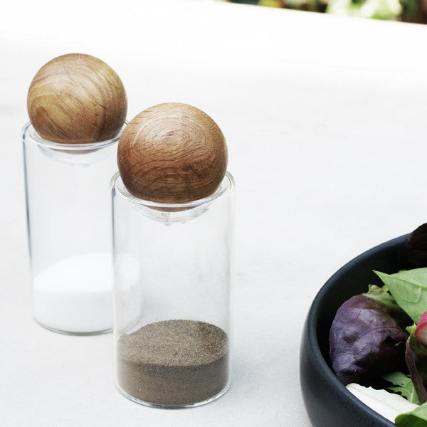 Oval Oak Salt and Pepper Set by Sagaform