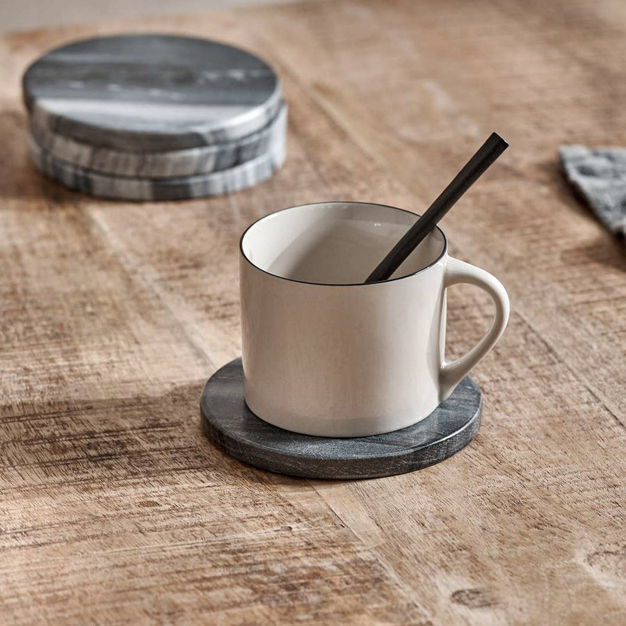 Nkuku Esa Marble Coasters, Set of 4, Grey