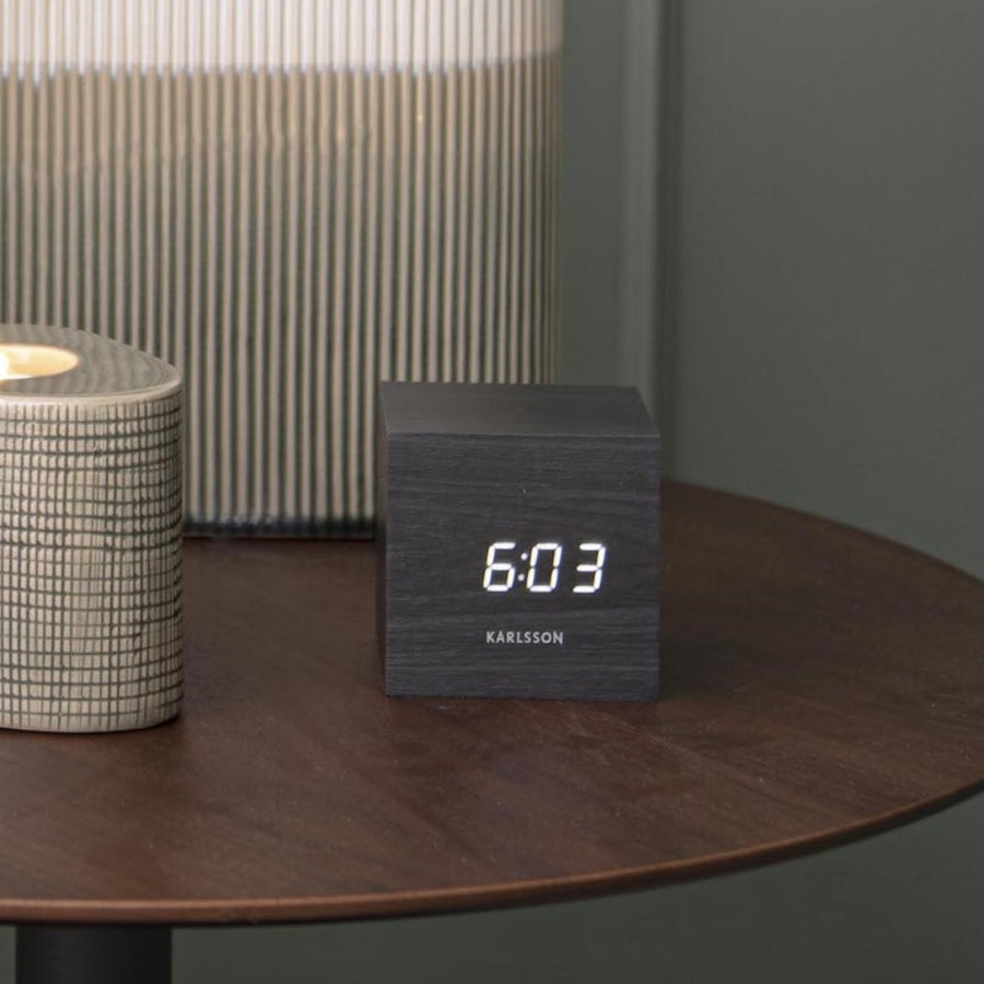 Mini Cube Alarm Clock, Black painted