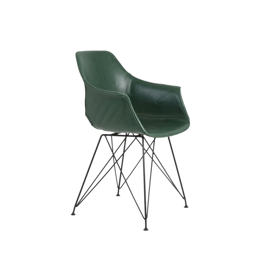 Serbin Chair, Faux Leather, Green