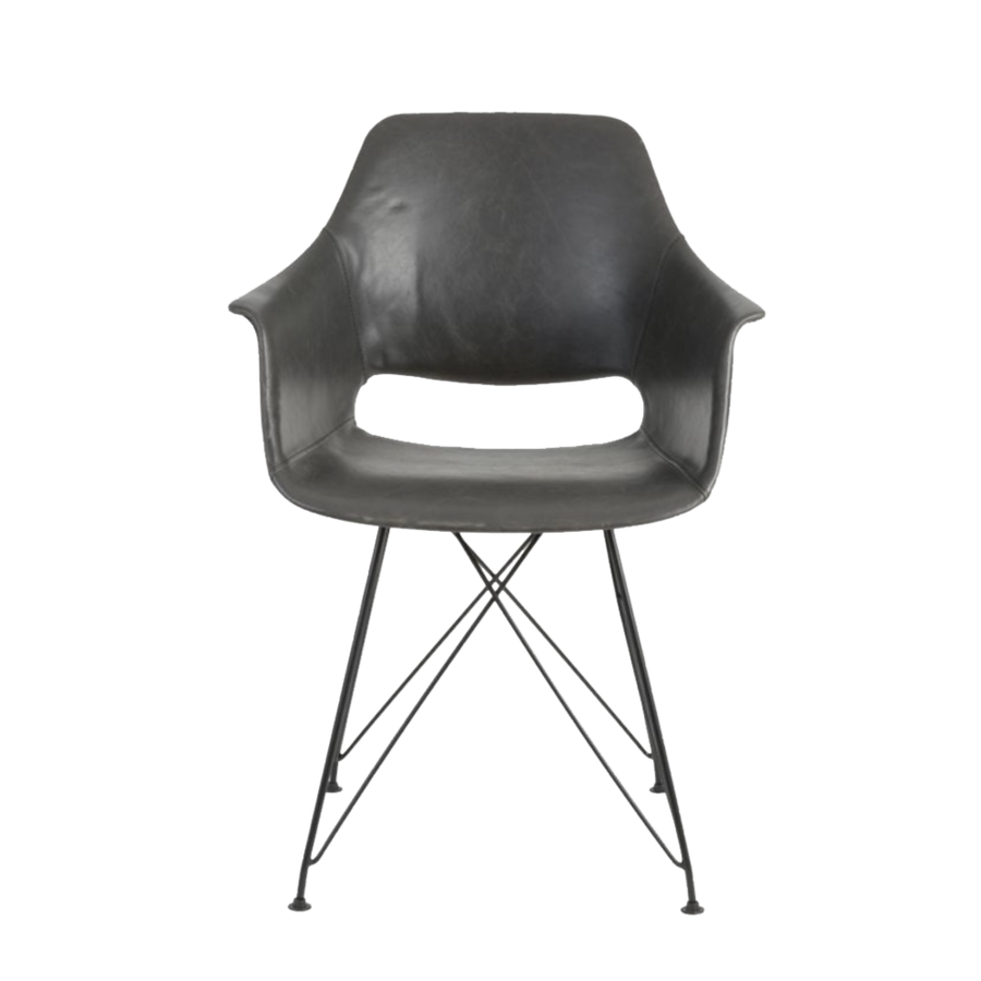 Serbin Chair, Faux Leather, Grey
