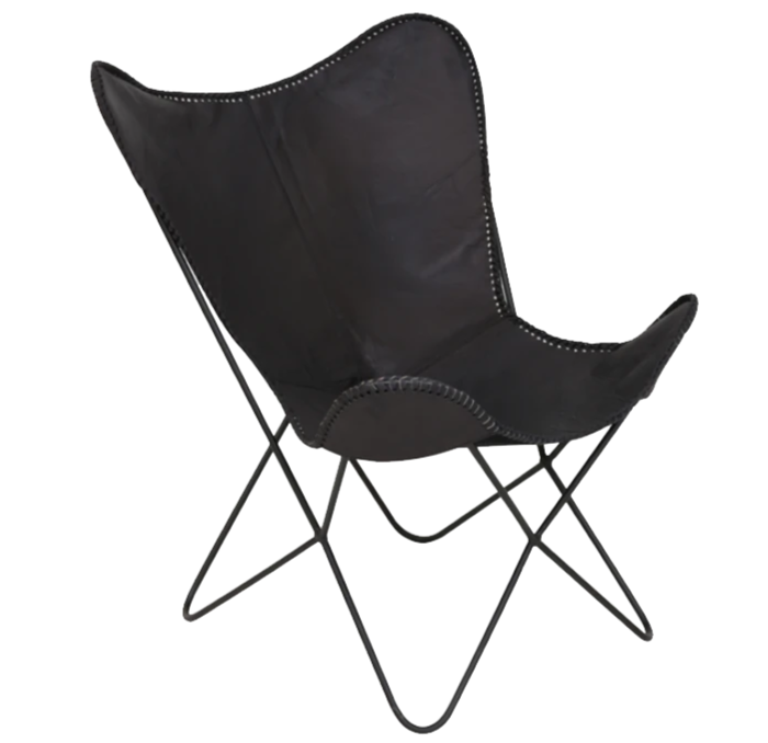 Butterfly Chair in Black Leather - Light & Living