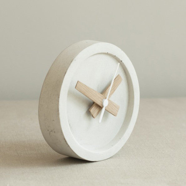 Concrete Table Clock - Off White