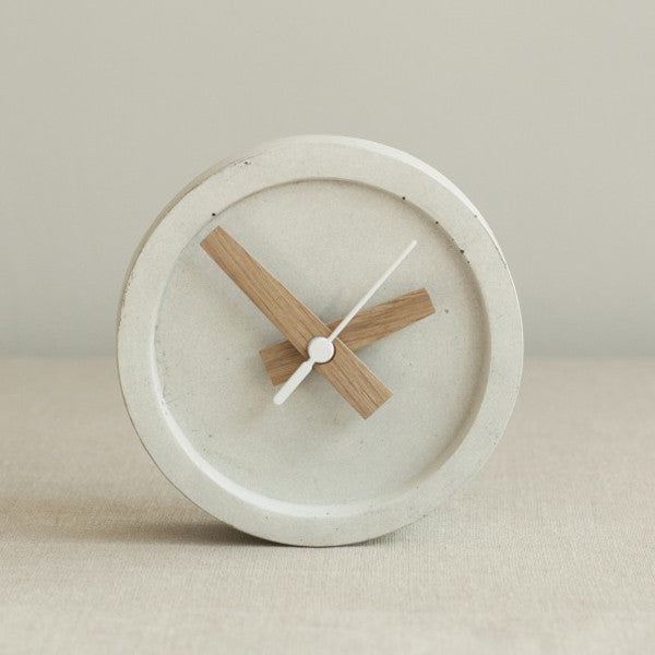 Wild & Wood Concrete Table Clock - Off White