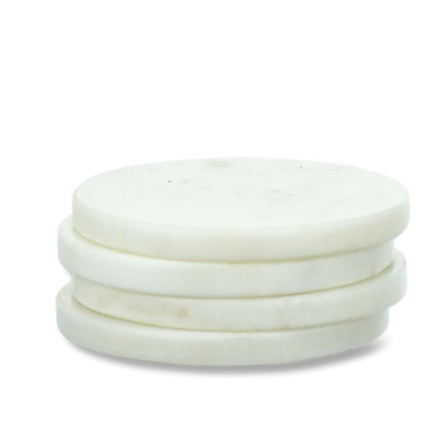 Nkuku Esa Marble Coasters, Set of 4, White