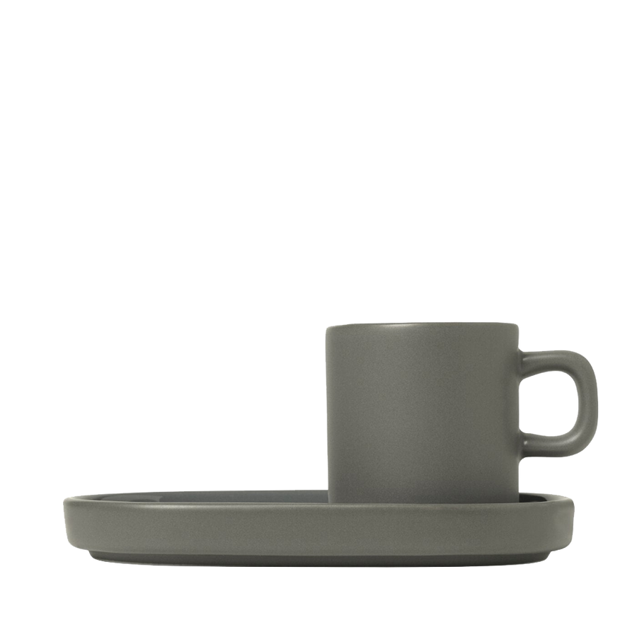 Blomus Mio Set of Two Espresso Mugs - Pewter