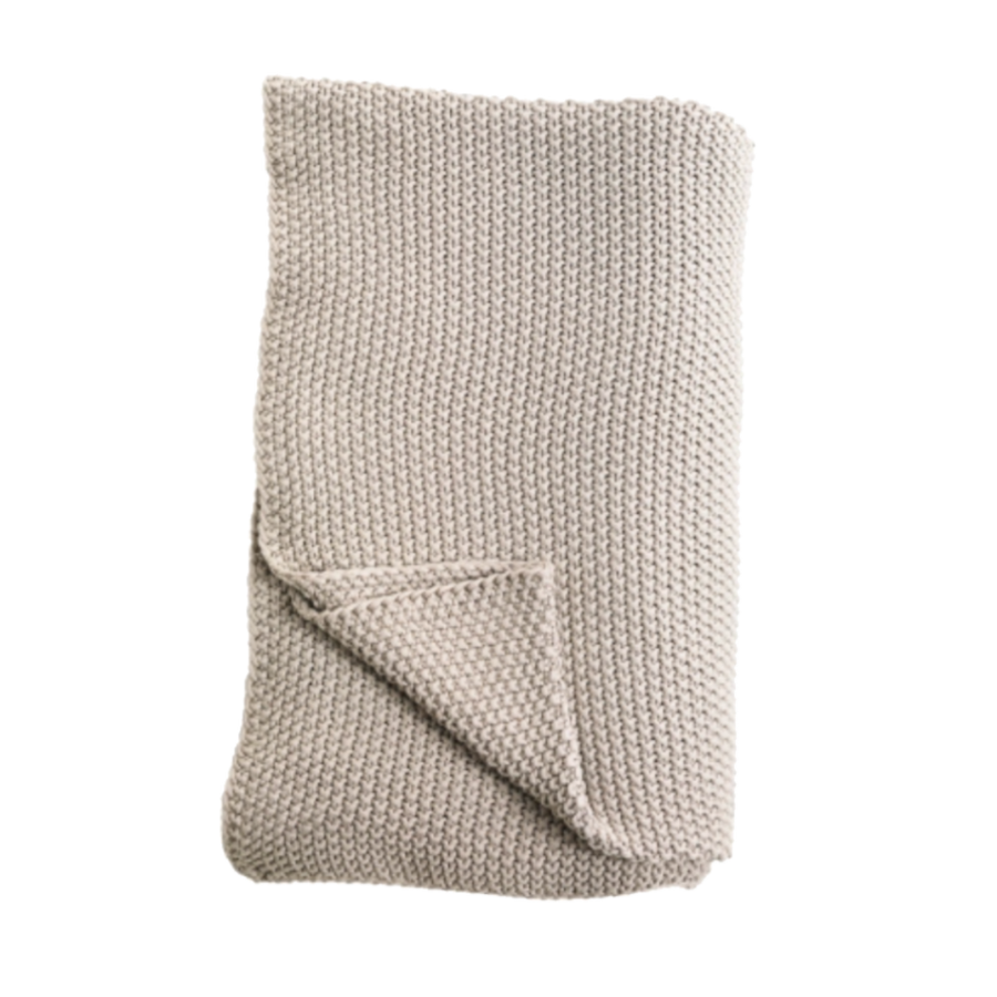 Moss Stitch Cotton Throw, Stone by Nkuku