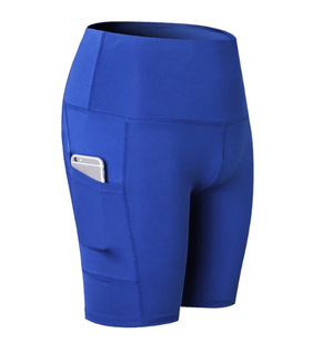 60% OFF -High Waist Workout Running Yoga Shorts Tummy Control Side Pockets - VESSII