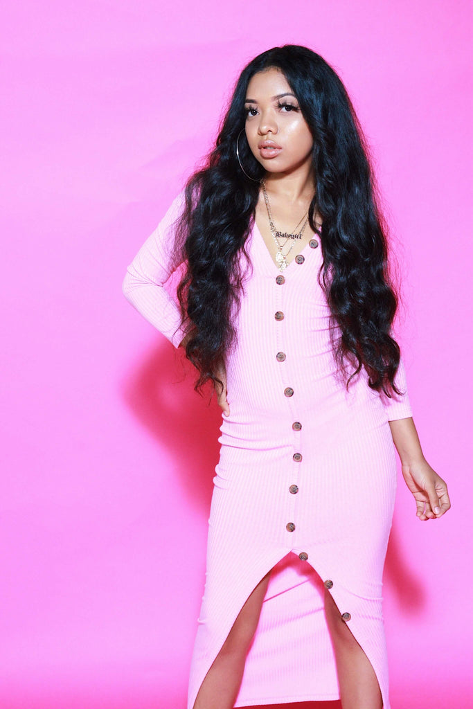 Rib Knit Midi Dress - SAVAGEGIRL Boutique Pink Collection