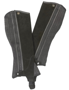 Ovation Kids Suede Ribbed Half Chaps- Black
