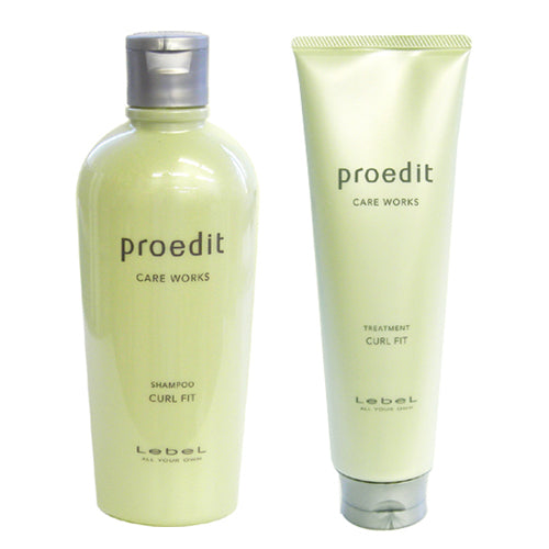 Lebel Proedit Care Works Hair Shampoo 300ml & Hair Ttreatment 250ml Set - Curl Fit