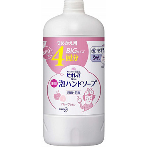 Biore U Bubble Hand Soap 4 Times Refill 800ml - Fruits Scent - Harajuku Culture Japan - Beauty Products Store